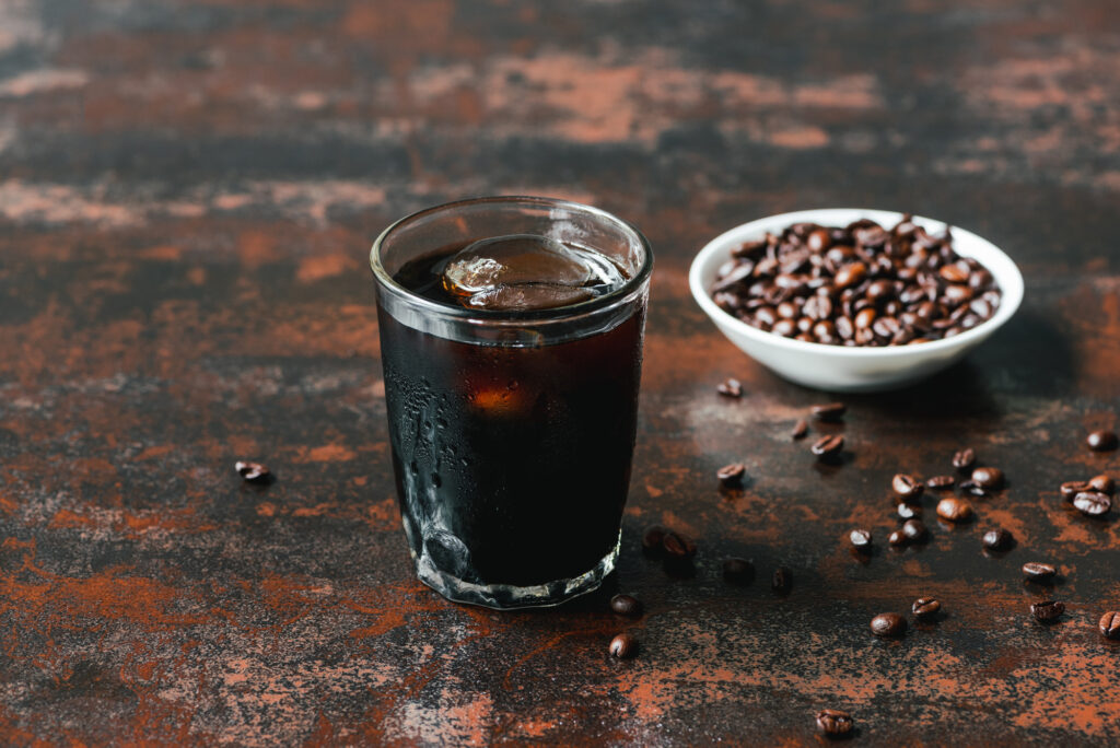 cold brew coffee and beans